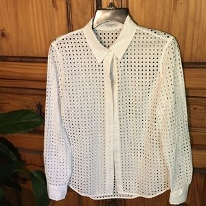 LADIES🌿EQUIPMENT FEMME WHITE EYELET BLOUSE SIZE S